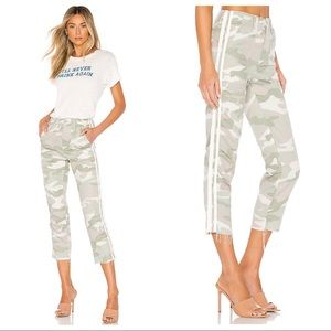 MOTHER The Shaker Chop Crop Fray In Desert Print